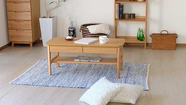 送料無料 センターテーブル 単品 幅90cm ナチュラル 棚付き 引き出し 収納 木製 リビングテーブル ローテーブル カフェ 北欧 モダン 西海岸 おしゃれ 高級感