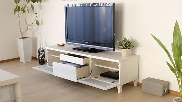 送料無料 完成品 光沢が美しいテレビ台 幅150cm ホワイト 鏡面仕上げ テレビボード ローボード ロータイプ 木製 引き出し 収納 おしゃれ 北欧 モダン シンプル ミッドセンチュリー スタイリッシュ 高級感