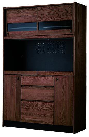 送料無料 キッチンボード 幅120cm ミディアムブラウン 食器棚 木製 完成品 ウォールナット レンジ台 レンジボード キッチン収納 台所 ラック 食器収納 おしゃれ 北欧 モダン レトロ ミッドセンチュリー 高級感