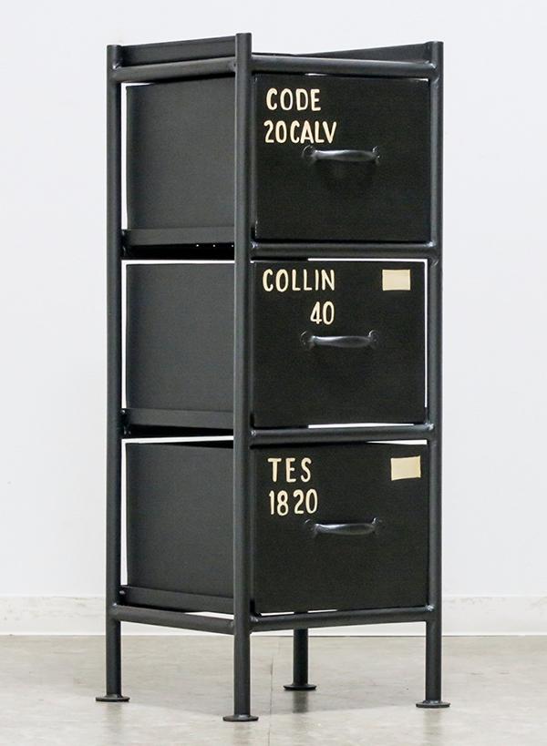 送料無料 スチールチェスト 幅30cm 縦型3杯引出チェスト 収納棚 ...