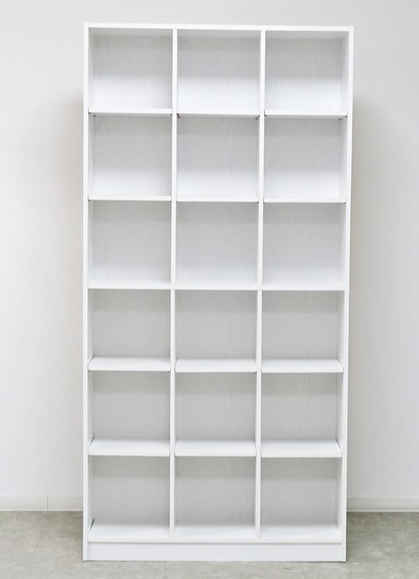 送料無料 本棚 幅約90cm WH ホワイト 書棚 木目 木製 ディスプレイラック 収納棚 大容量 収納ボックス リビング オープンラック 壁面 ハイタイプ おしゃれ 北欧 モダン