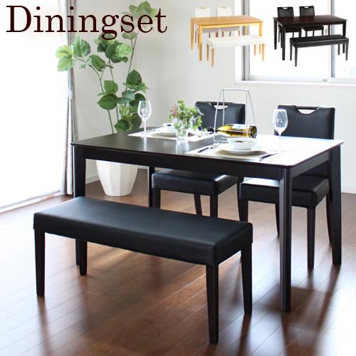 送料無料 ベンチダイニングセット ダイニングテーブル 4点セット 135cm幅 4人掛け用 4人 4人掛け 木製 テーブル チェアー ベンチ 机 作業台 椅子 食卓テーブル 北欧 ナチュラル おしゃれ キース 高級感