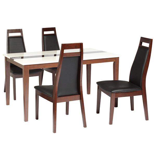 送料無料 ダイニング5点セット ダイニングテーブル 135幅 4人掛け用 4人 4人掛け ミルキーウェイ 木製 テーブル ハイバックチェアー 4脚セット 合皮 机 作業台 椅子 食卓テーブル 北欧 スタイリッシュ モダン おしゃれ 高級感