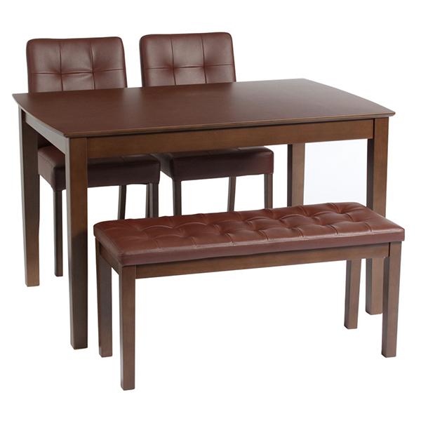 送料無料 ベンチダイニングセット ダイニングテーブル 4点セット 115cm幅 4人掛け用 4人 4人掛け デリカ 木目 木製 テーブル チェアー ベンチ 机 作業台 椅子 食卓テーブル コンパクト 北欧 ナチュラル シンプル おしゃれ
