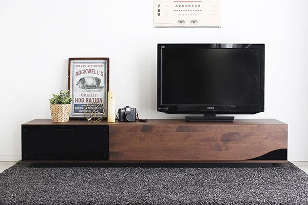 クアトロ 日本製 幅180cm ローボード ブラウン アルダー無垢 木製 引き出し 収納 テレビボード リビングボード テレビ台 TVボード AVボード AVラック TV台 テレビラック 北欧 モダン シンプル おしゃれ 高級感