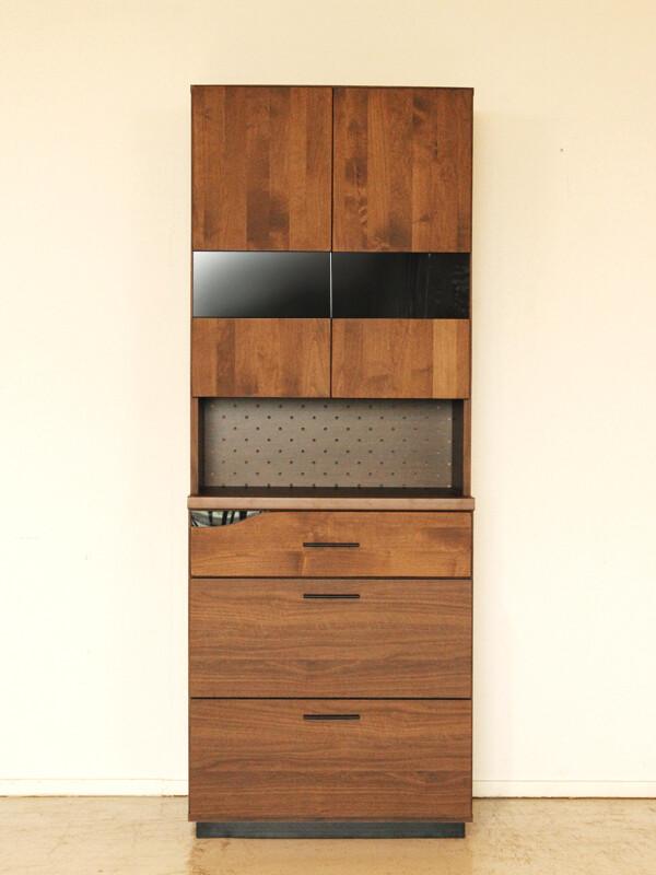 70食器棚 ブラウン 日本製 木製 アルダー無垢 食器棚 収納 キッチン収納 カップボード 収納棚 北欧 おしゃれ モダン 高級感