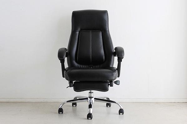 オフィスチェア 最大170度まで ブラック オットマン 足置き付き フットレスト付き リクライニングチェアー ハイバック デスク用チェア いす 椅子 キャスター ワークチェアー パソコンチェア モダン ミッドセンチュリー レトロ 高級感