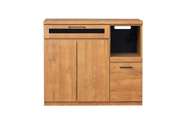 日本製 幅105cm キッチンカウンター ビンテージ調 炊飯器収納 間仕切り テーブル キッチンボード レンジ台 収納棚 北欧 モダン ミッドセンチュリー おしゃれ 高級感