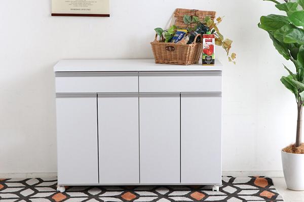 日本製 ペールストッカー ホワイト 白 幅109cm 4分別 フラップ式 キッチンカウンター 間仕切り ゴミ箱 ダストボックス キャスター付き 家具調 引き出し 収納 シンプル スタイリッシュ おしゃれ