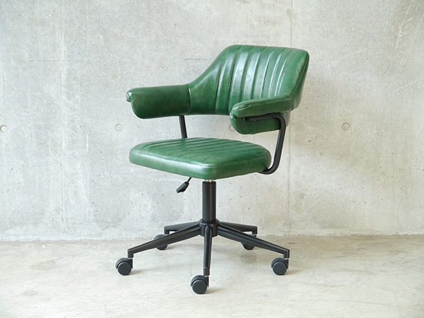 デスク用チェア パソコンチェア オフィスチェアー 書斎椅子 キャスター付き ワークチェア ゲイズ チェア グリーン おしゃれ レトロ モダン ミッドセンチュリー 高級感