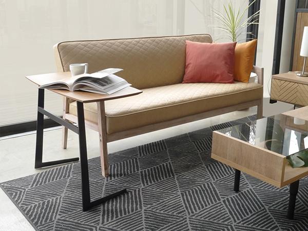 サイドテーブル 幅80cm ナイトテーブル 高級感 ウォールナット スチール 寝室 ベッドサイドテーブル ソファーサイドテーブル リビング 花台 プランター台 フェイ おしゃれ モダン 北欧 シンプル