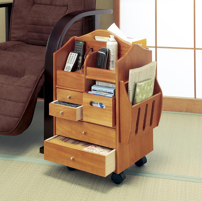 天然木 木製 テーブルまわりの ハイタイプ 便利 ワゴン マガジンラック付 キャスター付き