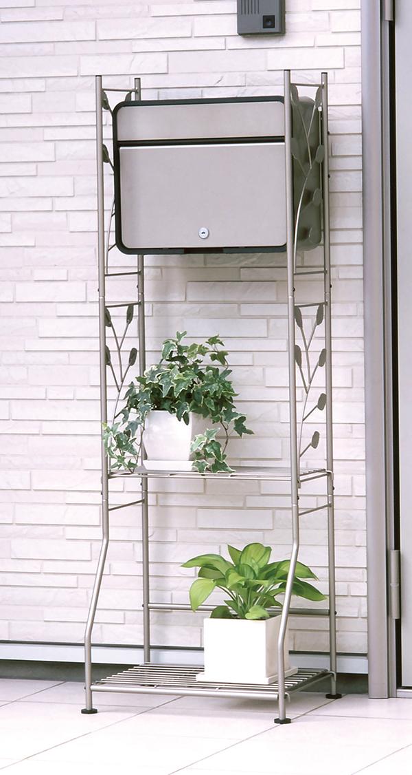 ガーデンポスト スタンドセット 日本製 アンティーク 棚 A4対応 花台 フラワースタンド ガーデニング エクステリア モダン 北欧 お庭 グレー ブラック