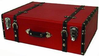 ウッドボックス トランク型ボックス 小物入れ 店舗ディスプレイ クロコ調レッド 木製 収納箱 インテリア雑貨 おもちゃ箱 アンティーク インダストリアル 西海岸 ブルックリン 男前インテリア おしゃれ
