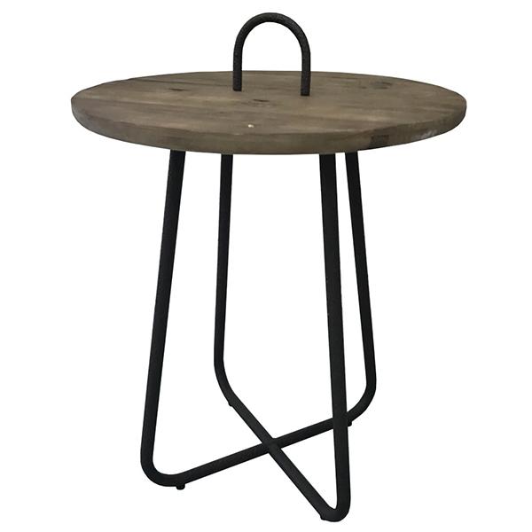 古材 ラウンドサイドテーブル 円型 丸形 ブルックリン ナイトテーブル 木製 リビング 寝室 ソファーサイド ベッドサイド アイアン 西海岸 インダストリアル 男前インテリア おしゃれ