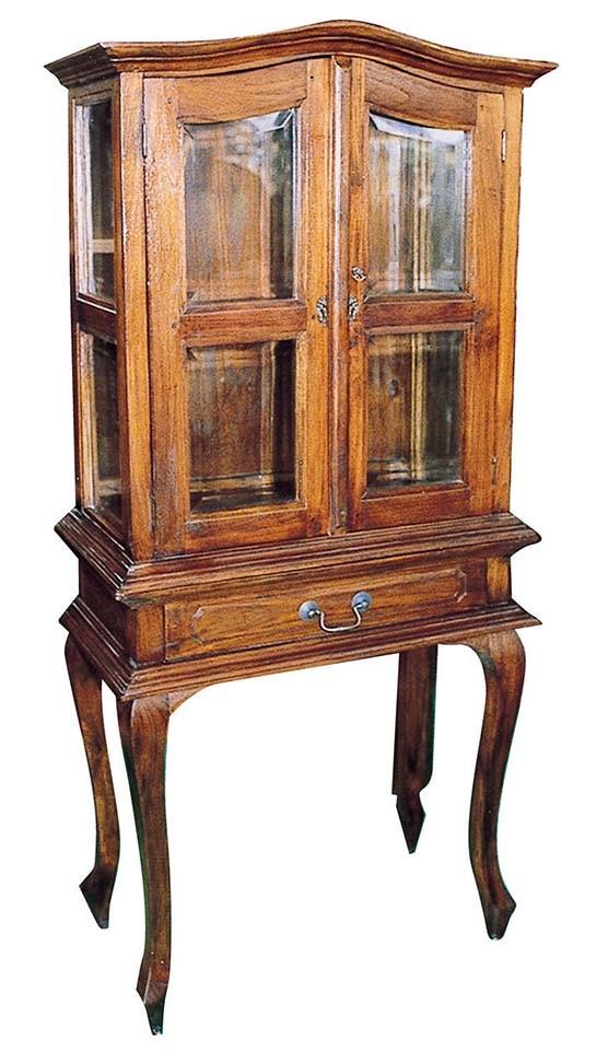 猫脚ガラス戸棚引出付 キャビネット 飾り棚 収納棚 ねこ脚 ディスプレイラック 木製 アンティーク モダン おしゃれ 高級感