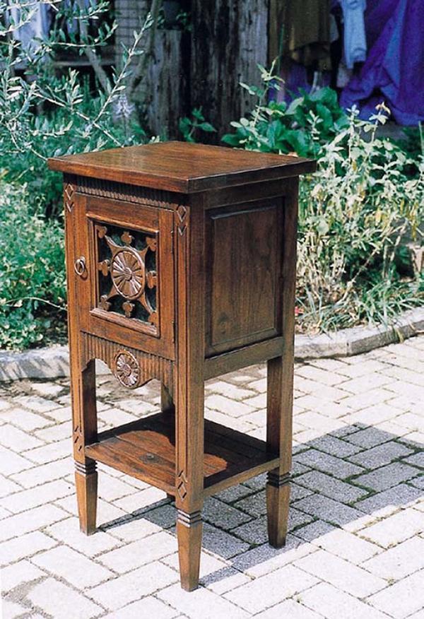 ガラス花紋電話台 FAX台 木製 飾り棚 サイドテーブル ナイトテーブル ソファーサイド おしゃれ レトロ モダン