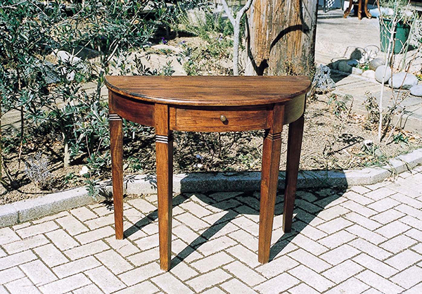 引出し付きハーフラウンドテーブル コンソールテーブル 飾り棚 花台 作業台 木製 収納 小物収納 おしゃれ モダン アンティーク