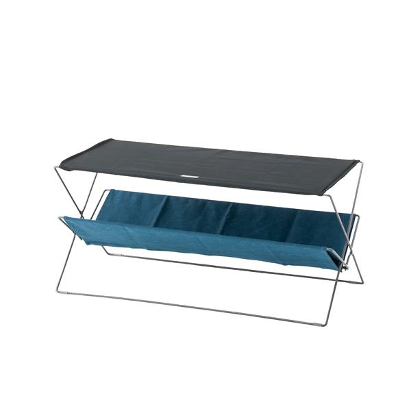 折りたたみテーブル 幅90cm フォールディングテーブル マガジンラック 収納 スチール 折り畳み コンパクト ローテーブル リビングテーブル コーヒーテーブル カフェテーブル 机 つくえ 作業台 モダン 北欧 西海岸 おしゃれ かわいい ネイビー