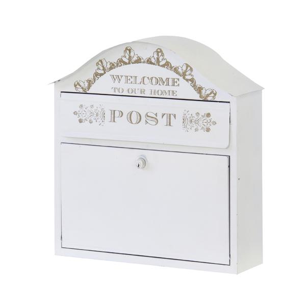 ポスト 壁掛け 郵便ポスト 郵便受け メールボックス おしゃれ スチール アンティーク調 カントリー 姫系 インテリア 新聞受け POST 壁掛けポスト 置き型 ホワイト 白