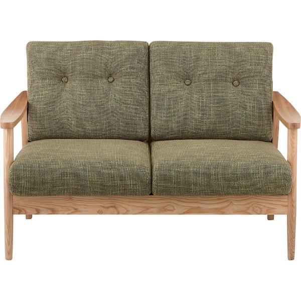 ソファー ソファ 2人掛け 二人掛け 2人用 イス 椅子 チェアー チェア 肘付き 木製 天然木 北欧 モダン レトロ カフェ風 西海岸 ブルックリン おしゃれ かわいい リビング 一人暮らし グリーン