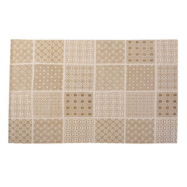 ラグ マット フロアマット 190x130cm 柄 コットン 綿 ラグマット デザインラグ カーペット じゅうたん 絨毯 リビングラグ センターラグ シンプル おしゃれ 北欧 高級感 ベージュ