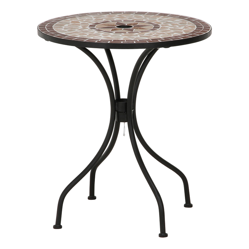 送料無料 モザイクテーブル 星柄 ガーデンテーブル スチール ベランダ テラス デッキ おしゃれ かわいい