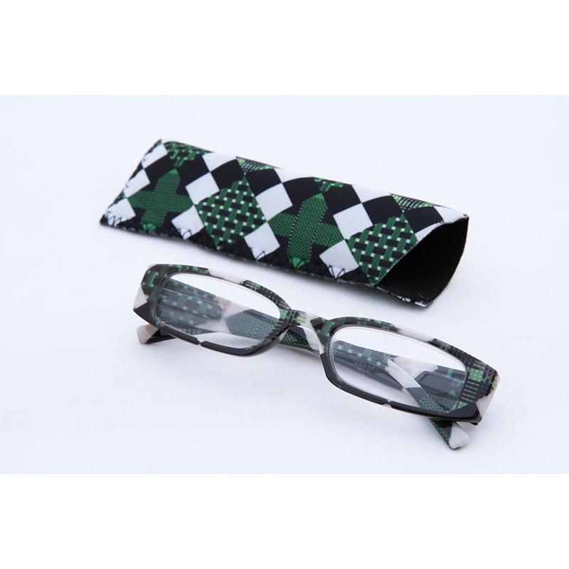 送料無料 12個入り リーディンググラス ブロックチェック グリーン 2.0度 老眼鏡 シニアグラス おしゃれ かわいい