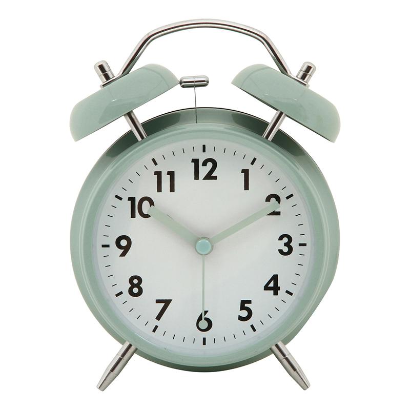 送料無料 6個セット アラームクロック ベル 目覚まし時計 光 置時計 置き時計 ダイニング キッチン 寝室 北欧 シンプル おしゃれ かわいい ペールブルー