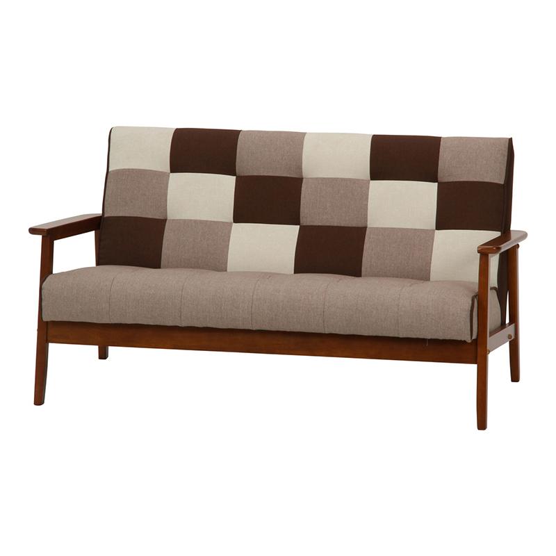 送料無料 ファブリックソファー フレンズ パッチワーク 木製 ソファー 幅135cm 2人掛け 2人掛け 肘付き リビングソファー 西海岸 シンプル 北欧 おしゃれ かわいい ブラウン