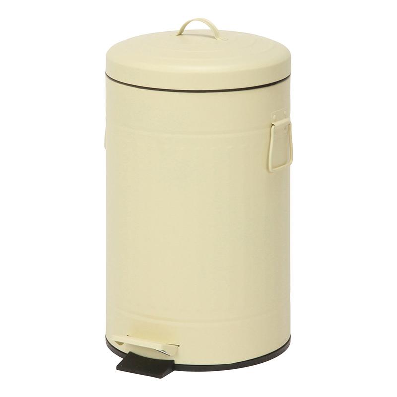 送料無料 6個入り スチール 円形 ラウンドペダルペール 12L ゴミ箱 ダストボックス ふた付き 蓋付き リビング キッチン シンプル 西海岸 男前インテリア おしゃれ かわいい アイボリー