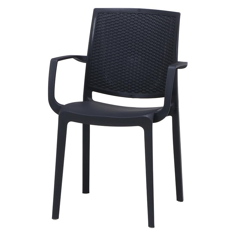 送料無料 2脚セット PCアームチェアー チェア ダイニングチェアー ガーデンチェアー プールサイド いす 椅子 イス リゾート 庭 屋外 野外 アウトドア カフェ アジアン モダン シンプル ブラック おしゃれ かわいい