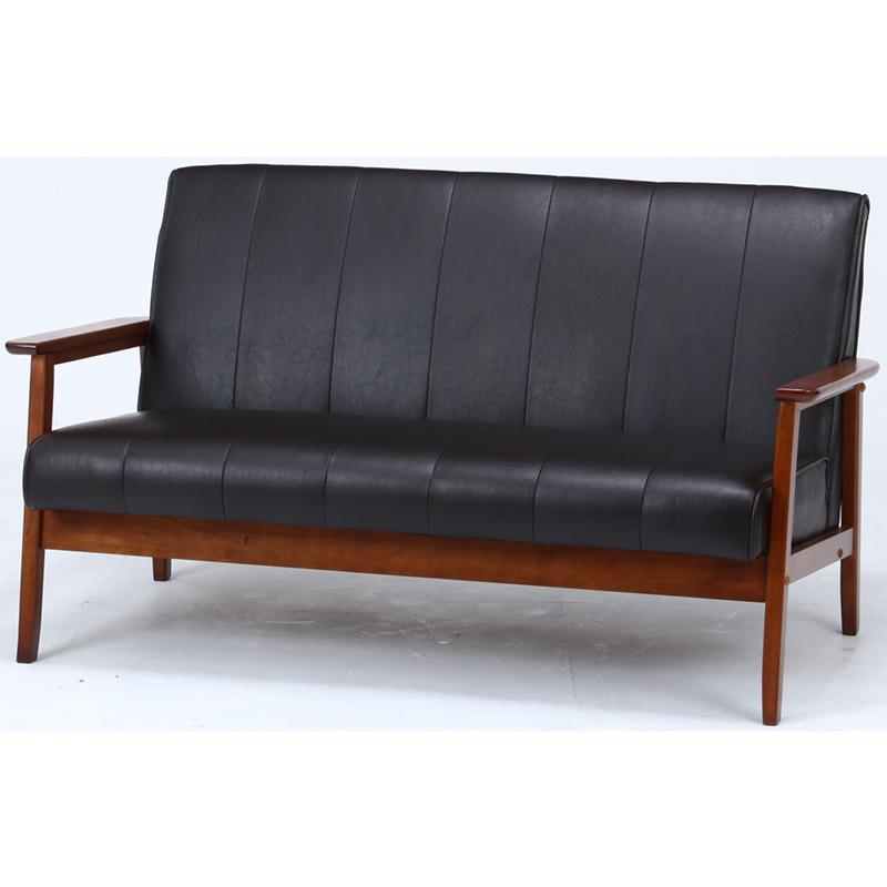 送料無料 バイキャストPUソファー 2人掛け 合皮 コンパクト 幅128cm ソファ ソファー 2人がけ 肘付き リビングソファー いす 椅子 チェア 北欧 モダン シンプル おしゃれ 高級感 ダークブラウン