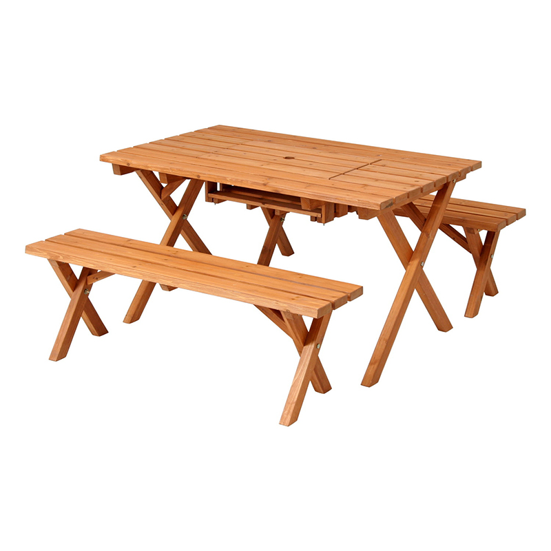 送料無料 杉材 BBQテーブル&ベンチセット コンロスペース付 ガーデン テーブル セット ガーデンベンチ いす イス チェア 背もたれ無し テーブルセット アンティーク 高級感 おしゃれ