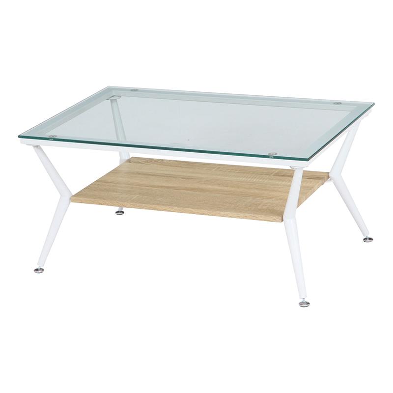 送料無料 硝子 ガラスリビングテーブル ガラステーブル センターテーブル 幅80cm ローテーブル カフェテーブル 机 作業台 棚 収納付き おしゃれ かわいい 西海岸 男前インテリア 北欧 ひとり暮らし ナチュラル