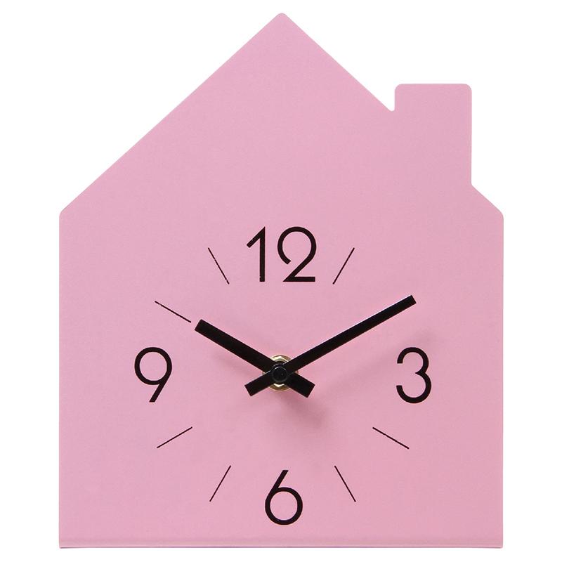 送料無料 6個セット 置時計 ハウス ピンク 置き時計 クロック 時計 シンプル モダン おしゃれ