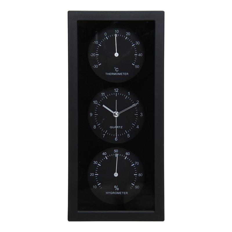 送料無料 6個セット 置時計温湿度計付き ダンデ 縦型 温度計 湿度計 ブラック 置き時計 クロック 時計 シンプル モダン おしゃれ