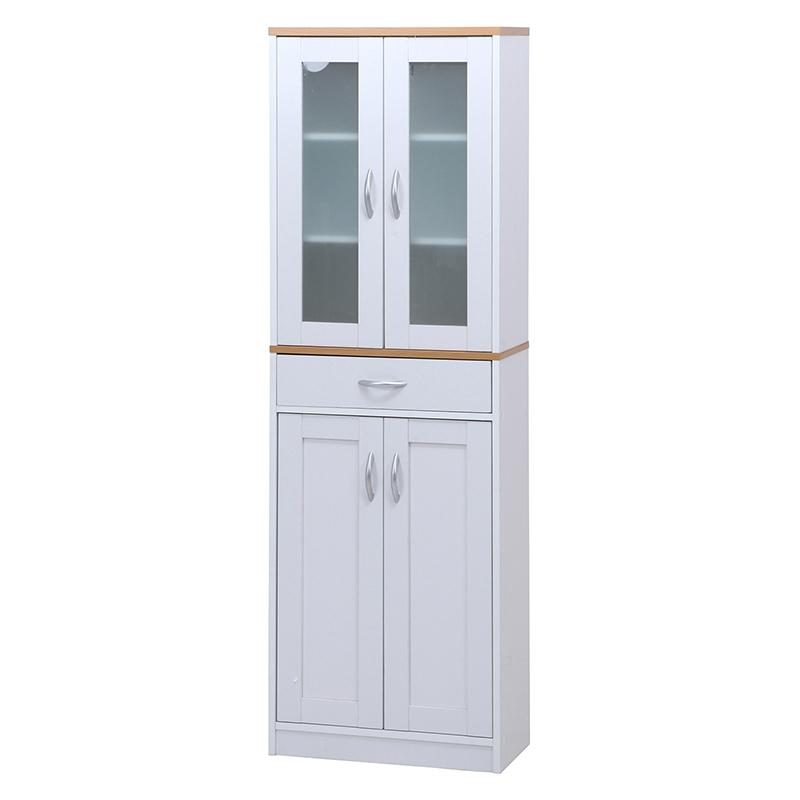 送料無料 キッチンキャビネット 木製 食器棚 幅59cm リビング収納 飾り棚 ハイタイプ カップボード キッチン収納 収納棚 棚 キッチン ラック おしゃれ 北欧 レトロ モダン かわいい カントリー アンティーク
