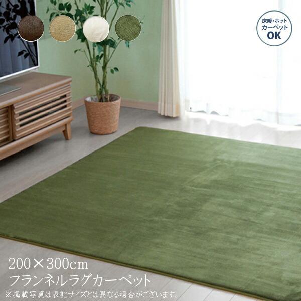 送料無料 カーペット おしゃれ ラグマット ラグ ルームマット 4畳 無地 フランネル フランアイズ 約200×300cm フロアマット ホットカーペットカバー 床暖房対応 床暖対応 オールシーズン 高級感 絨毯 じゅうたん 一人暮らし シンプル 北欧