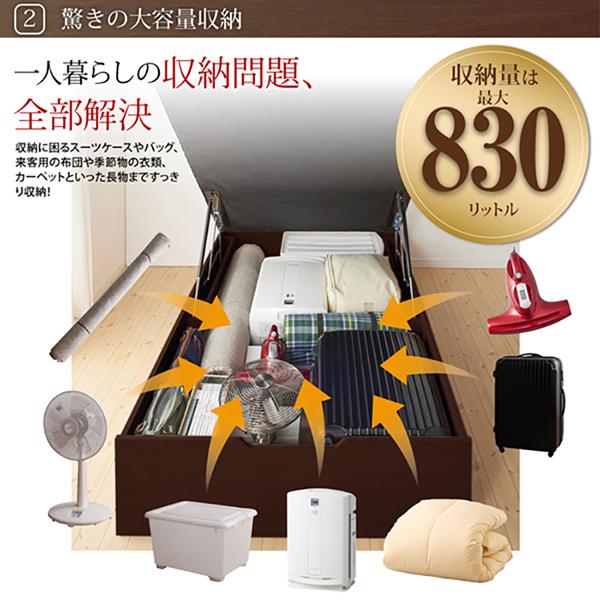 跳ね上げ式 収納 ベッド シングル ベッドフレームのみ 縦開き 深さグランド すのこ 通気性抜群 棚付き 宮付き コンセント付き ベット シングルサイズ 大容量 収納付きベッド 跳ね上げベッド プロストル 木製 ガス圧式ベッド 収納ベッド () 500022426