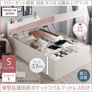 組立設置付 クローゼット跳ね上げベッド aimable エマーブル 薄型抗菌国産カバーポケットコイルマットレス付き 縦開き シングル ショート丈 深さラージ