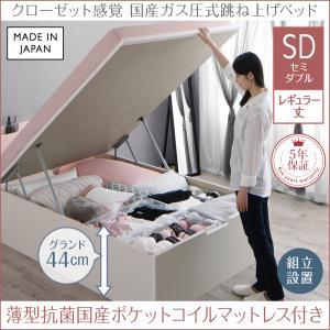 組立設置付 クローゼット跳ね上げベッド aimable エマーブル 薄型抗菌国産カバーポケットコイルマットレス付き 縦開き セミダブル レギュラー丈 深さグランド