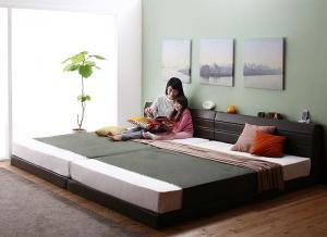 送料無料 ワイドK200 ベッドフレーム マットレス セット シングル×2台 親子で寝られる 棚付き コンセント付き レザー連結ベッド Familiena ファミリーナ ボンネルコイルマットレス付き ローベッド フロアーベッド ロータイプ おしゃれ 高級感