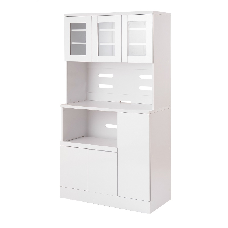 送料無料 食器棚 カップボード キッチンボード ホワイト 幅90cm レンジ台 コンセント付き レンジボード キッチンラック カップボード キッチンキャビネット キッチン収納 シンプル 白 大容量 収納棚 おしゃれ