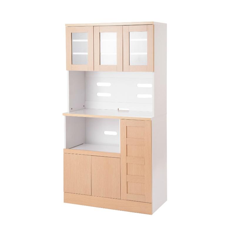 送料無料 食器棚 カップボード キッチンボード ナチュラル 幅90cm レンジ台 コンセント付き レンジボード キッチンラック カップボード キッチンキャビネット キッチン収納 シンプル 白 大容量 収納棚 おしゃれ