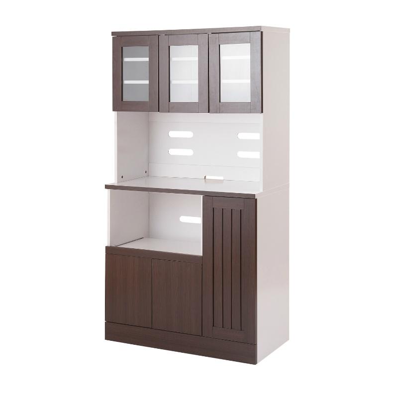 送料無料 食器棚 カップボード キッチンボード ダークブラウン 幅90cm レンジ台 コンセント付き レンジボード キッチンラック カップボード キッチンキャビネット キッチン収納 シンプル 白 大容量 収納棚 おしゃれ