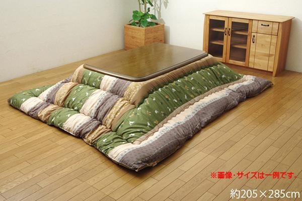 こたつ布団 長方形 大 掛け単品 和柄 『こよみ』 グリーン 約205×285cm (厚掛けタイプ)