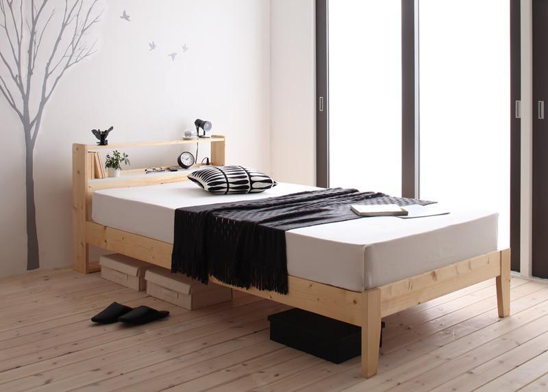 シングルベッド フレーム マットレス付き 北欧デザインコンセント付き すのこベッド シングルサイズ すのこ スノコ スノコベッド すのこベット スノコベット ストーゲン 【スタンダードポケットコイルマットレス付き】 天然木 カビ防止 湿気 通気性 宮付き 北欧 (送料無料)