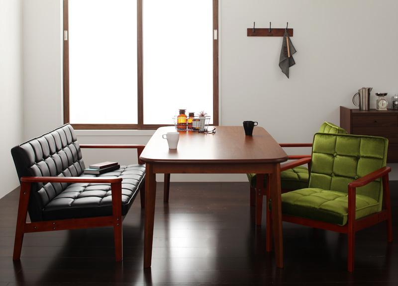 ダイニング テーブル セット 4点セット Dタイプ(テーブルW160cm+2Pソファ+1Pソファ×2) 4人用 ウォールナット ダイニング4点セット 食卓4点セット 椅子 イス ダイニングソファセット ダーニー ダイニングセット ソファ 木製テーブル モダン 北欧 おしゃれ (送料無料)