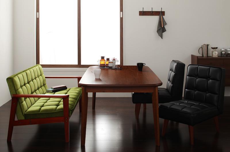 ダイニング テーブル セット 4点セット Eタイプ(テーブルW160cm+2Pソファ+チェア×2) 4人用 ウォールナット ダイニング4点セット 食卓4点セット 椅子 イス ダイニングソファセット ダーニー ダイニングセット ソファ 木製テーブル モダン 北欧 おしゃれ (送料無料) 040106431